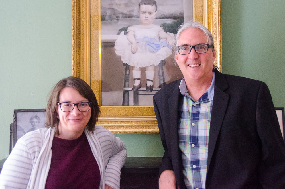 Above: Amanda Konkle and Bill Dawers at the Flannery O'Connor Childhood Home in Savannah.