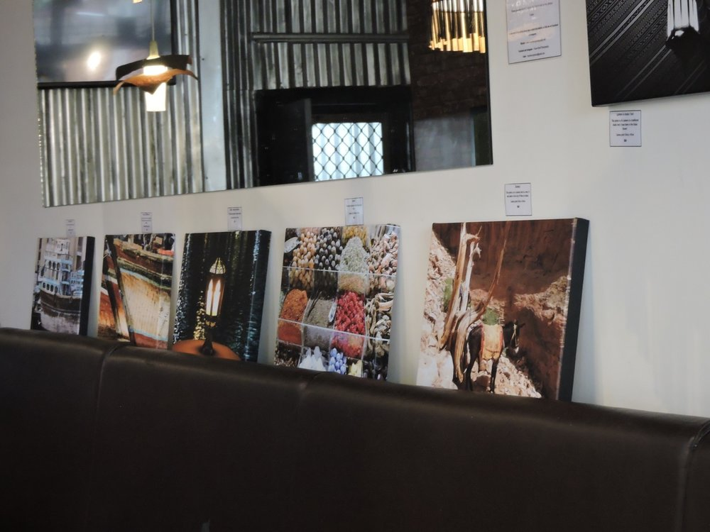 Canvases on display in Kazbah On Goodwood