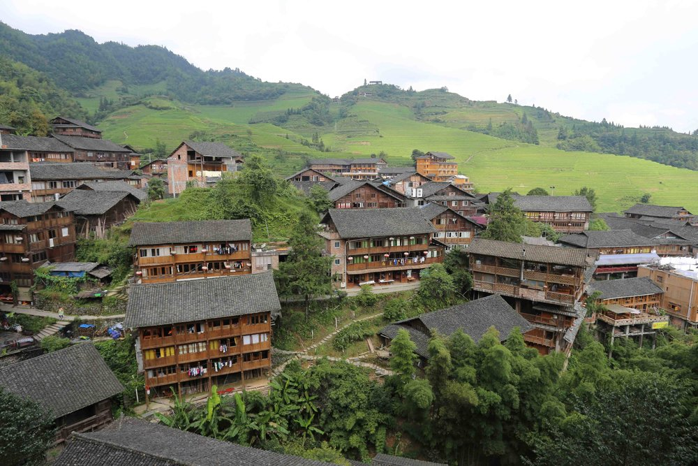 قرية بنق يانق وسط مزارع الأرز في جويلين