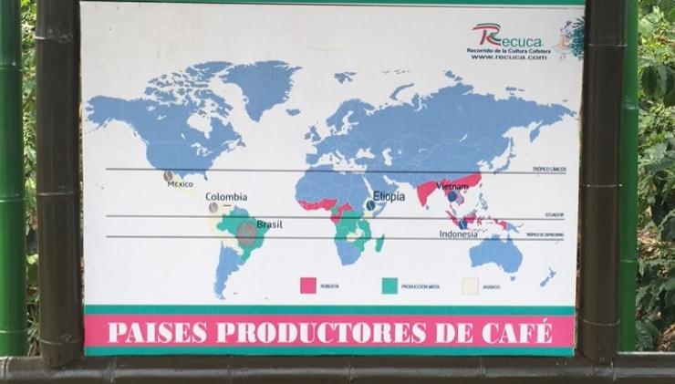 خريطة تبين أماكن انتشار مزارع البن في العالم