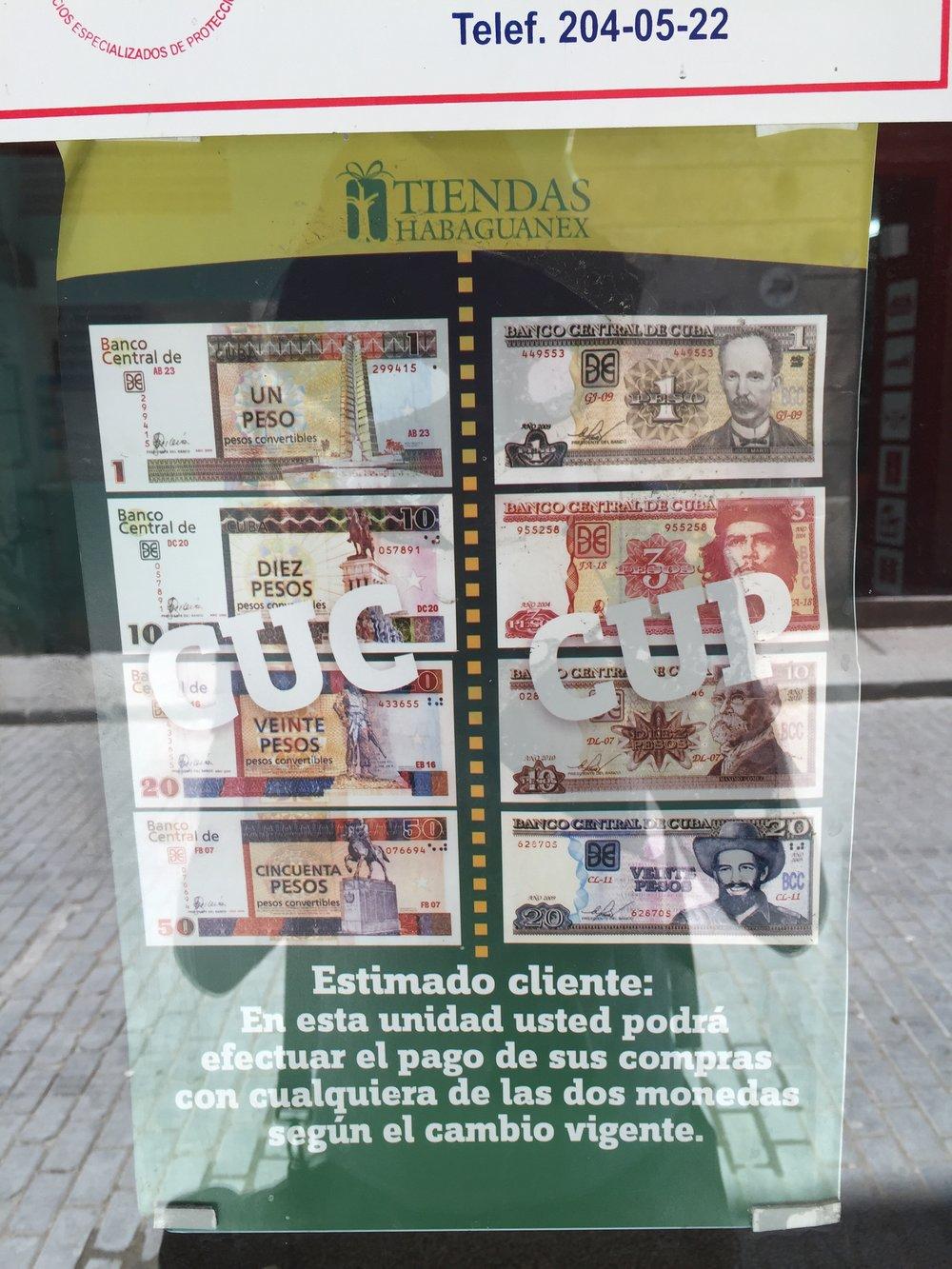 تحتوي كوبا على عملتين رسميتين هما: كوك و كوب