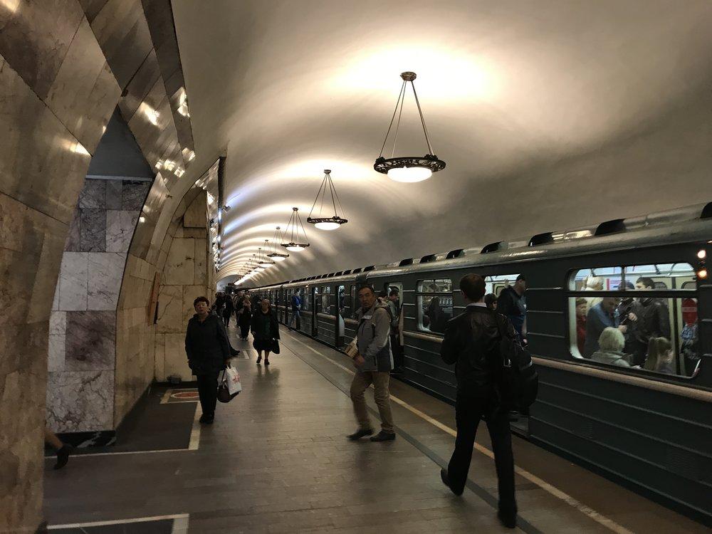أحد محطات المترو في موسكو