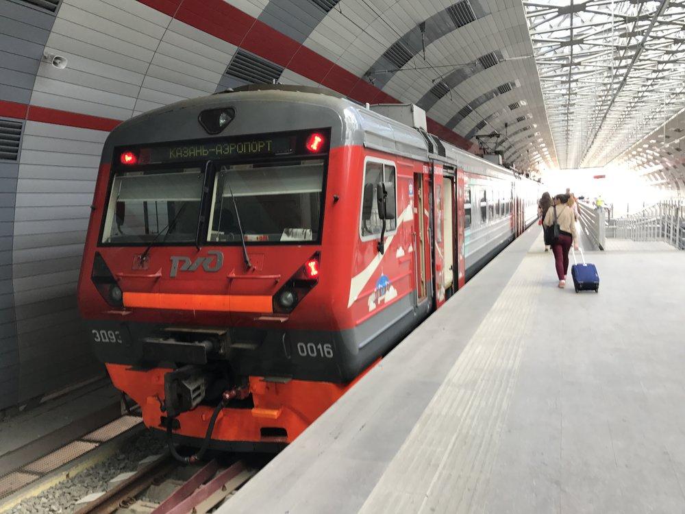 القطار المؤدي من المطار إلى مدينة كازان