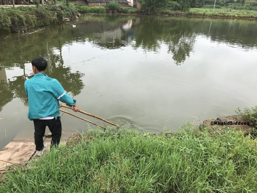 أثناء اصطياد السمك من البحيرة
