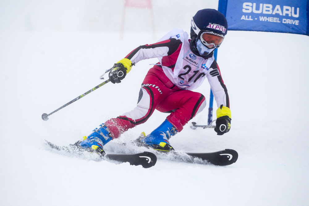 Dash competing in the soup that was the Interschools Nationals at Mt Buller