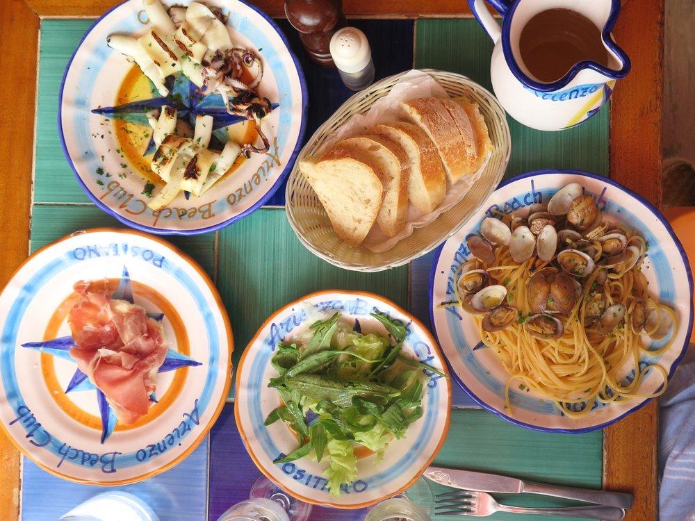 A lunch time feast at Azienzo Beach Club