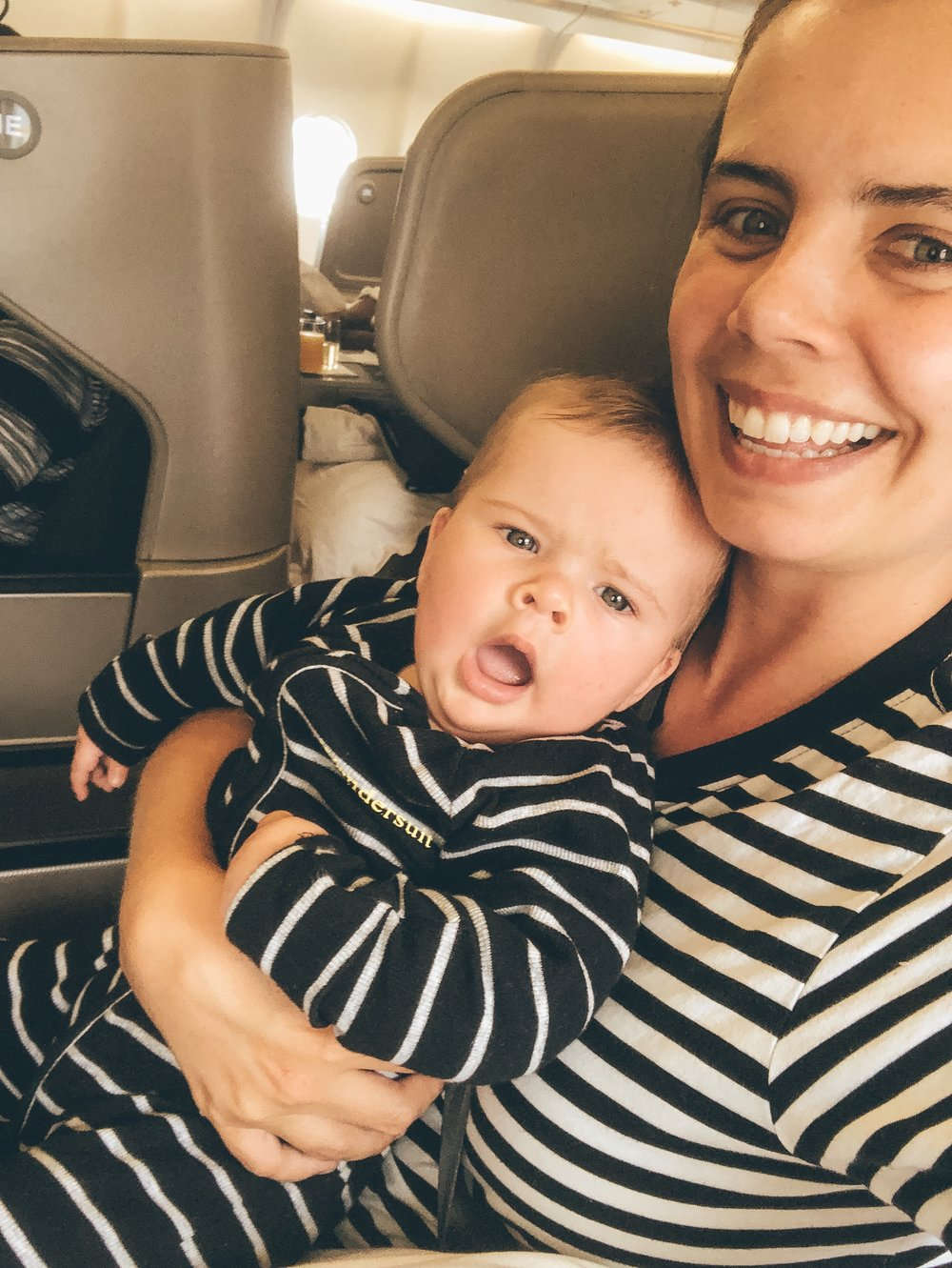 A tired baby on a plane, is a good baby on the plane