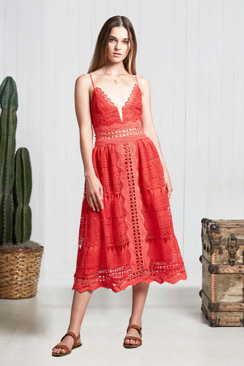 Phoebe Red Lace Midi Dress — IMWIM