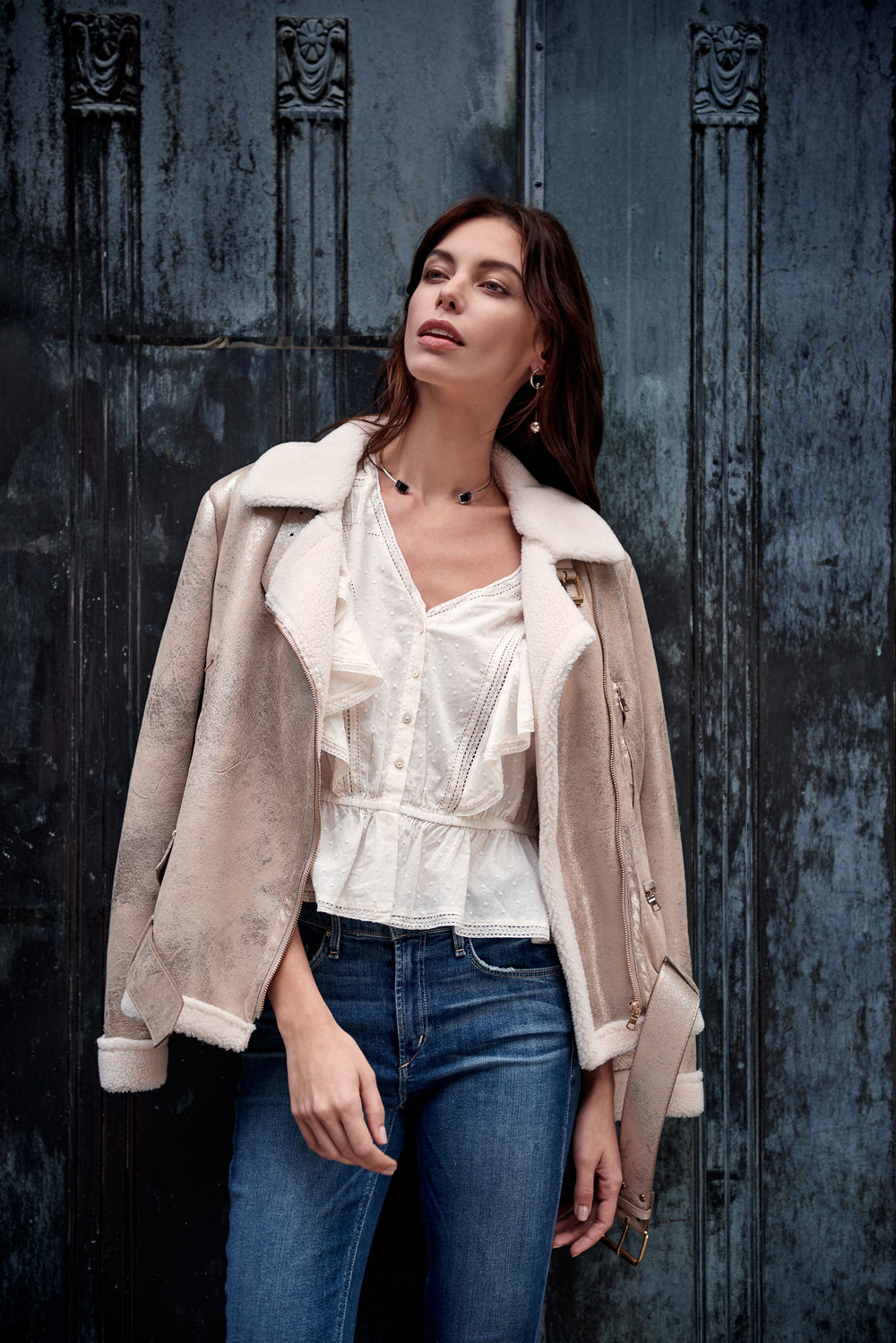Georgia Metallic Gold Shearling Biker Jacket & They Call Her ONYX Necklace & Livie Ruffle Top - Ivory & Newton Skinny Jeans With Rose Embroidery