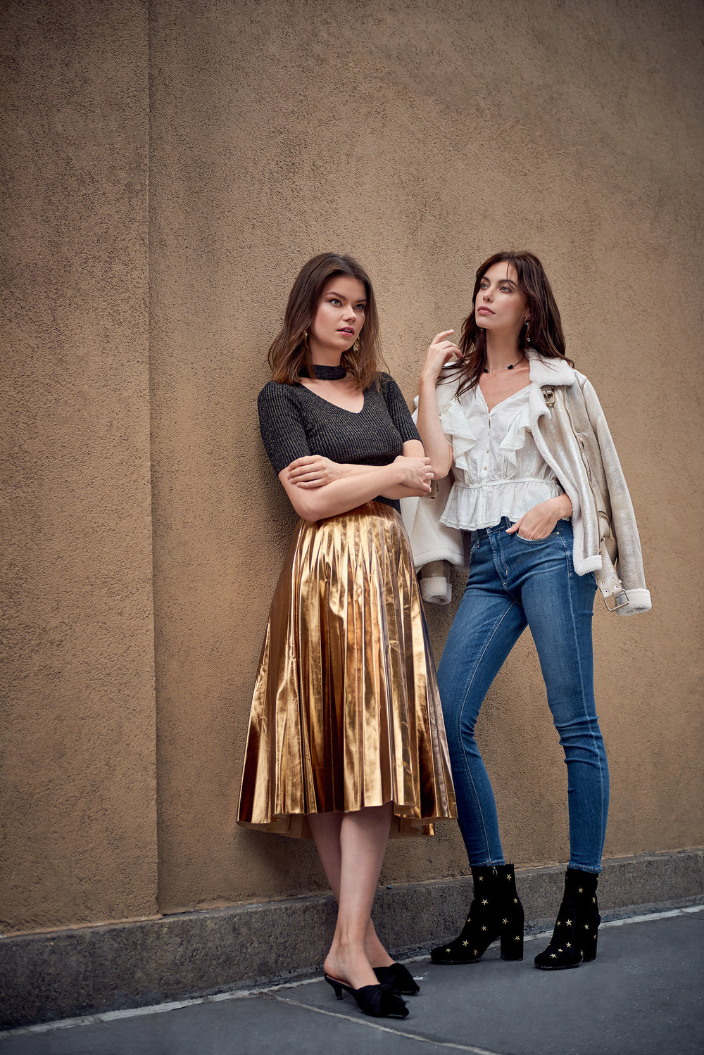 Left: Idrissa Metallic Knit Choker Top & Katya Metallic Gold Pleated Midi Skirt  Right: Georgia Metallic Gold Shearling Biker Jacket & They Call Her ONYX Necklace & Livie Top - Ivory & Newton Skinny Jeans With Rose Embroidery & Subra Embroidered Stars Ankle Boots - Black