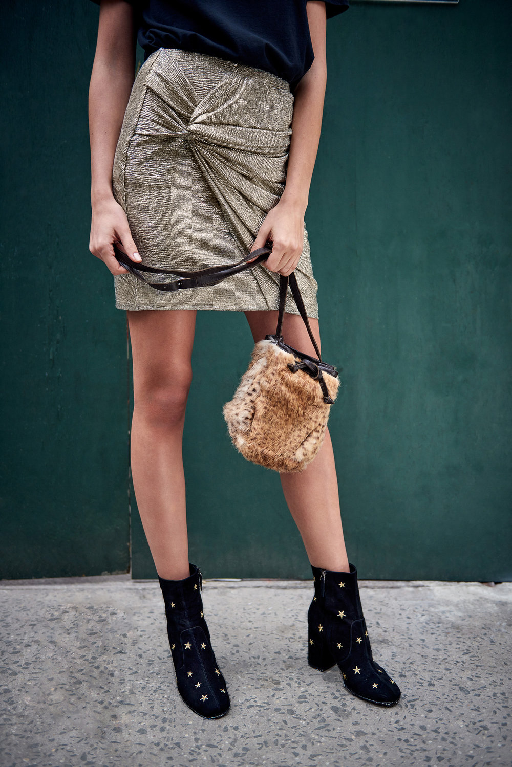Adna Metallic Gold Mini Skirt & Subra Embroidered Stars Ankle Boots - Black & The Mini Colonia Bucket Bag - Fluffy Cheetah
