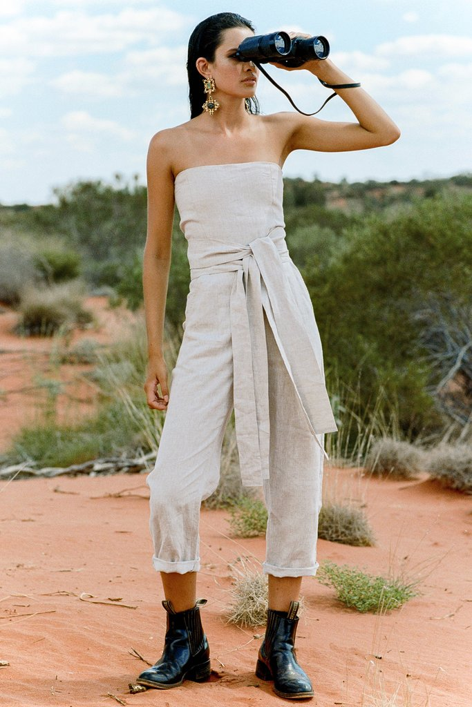 a82cbda674 SIR the label Ines Strapless Tie Jumpsuit