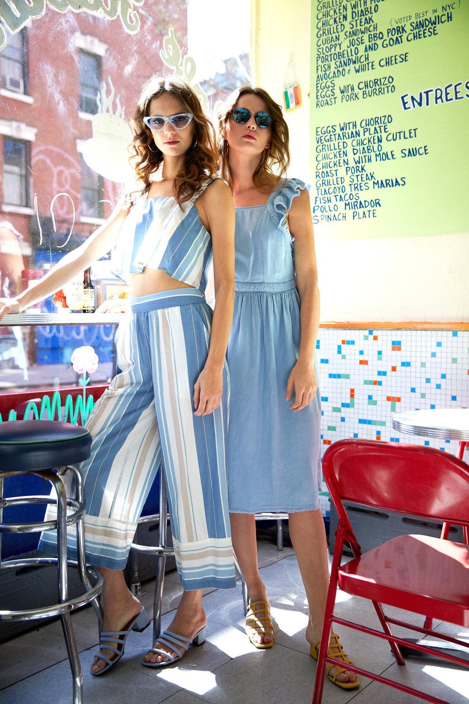 Left: Flora Stripe Top & Astor Stripe Pants  Right: Paradox Sunglasses - Light Pebble & Arizona Crisscross Chambray Midi Dress & Grid Yellow Suede Sandals