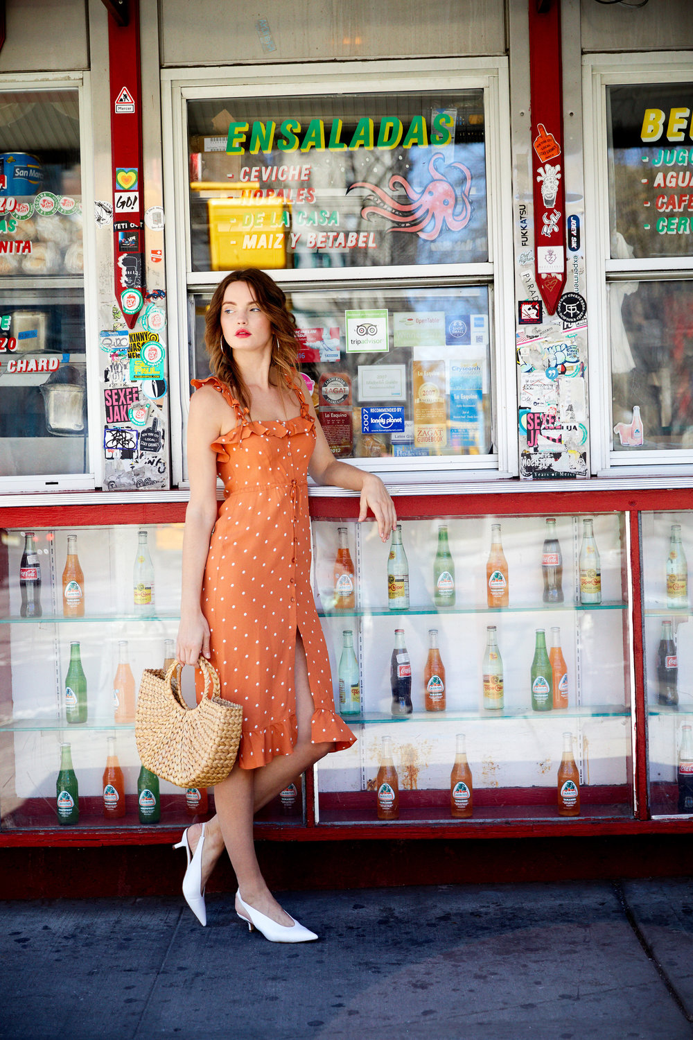 Natalia Polka Dot Midi Dress - Copper Dot & Half-Moon Straw Tote Bag