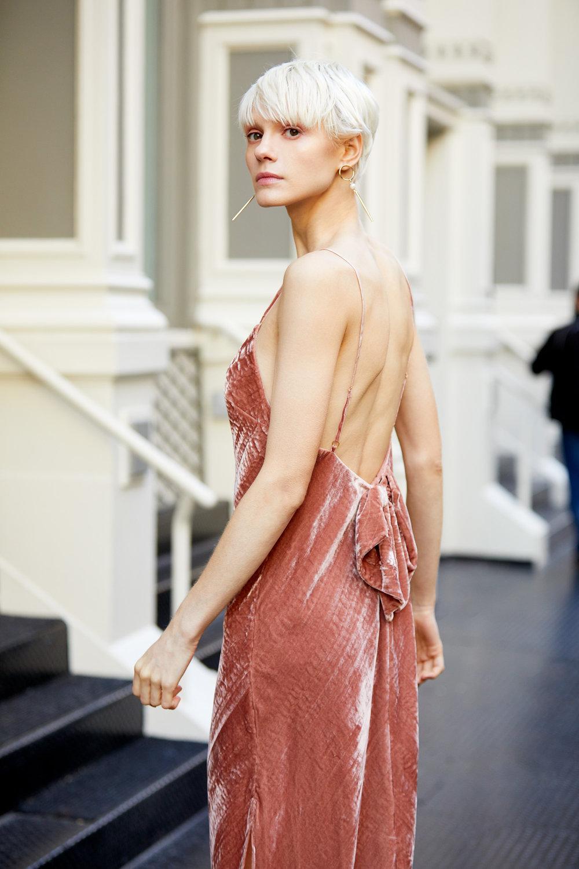Kate Slip Velvet Midi Dress - Cinnabar