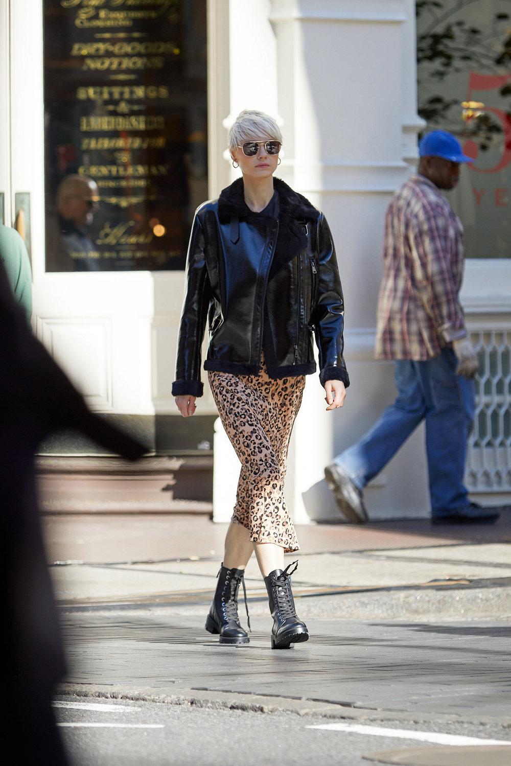 Danielle Vinyl Shearling Biker Jacket With Belt & Midi A-Line Skirt - Leopard Print & Harlem Hustler Sunglasses
