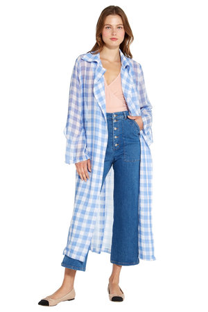 1ee955ac1f8fe Danna Trench Coat - Blue Gingham ...