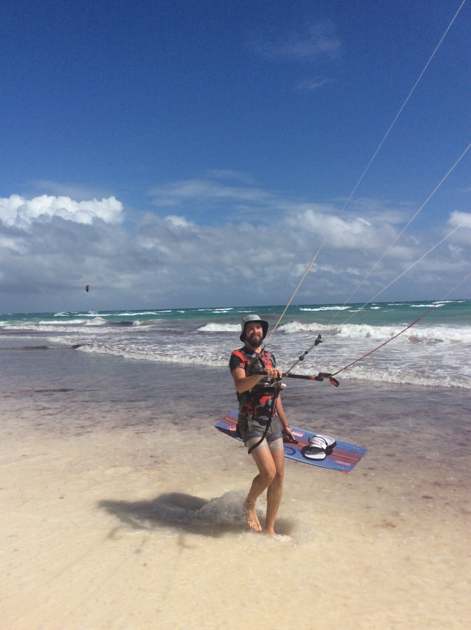 Kitesurfing on Tulum Beach, Mexico