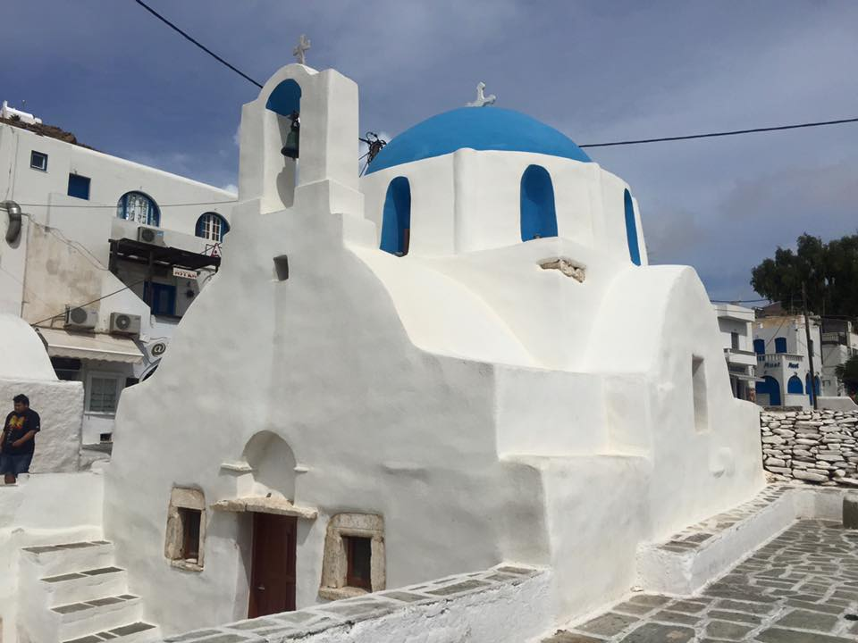 Beautiful white washed Greek Church on Ios Island