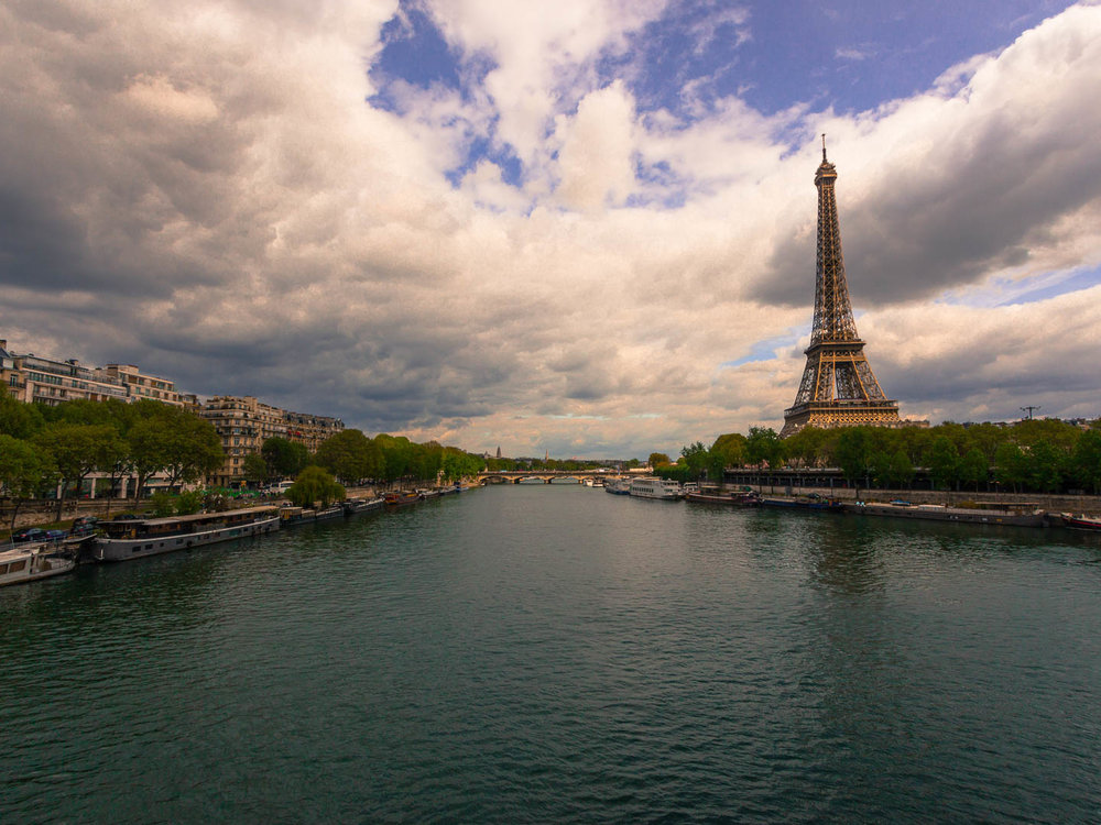 Photograph of the river Seine and Eiffel Tower in Paris