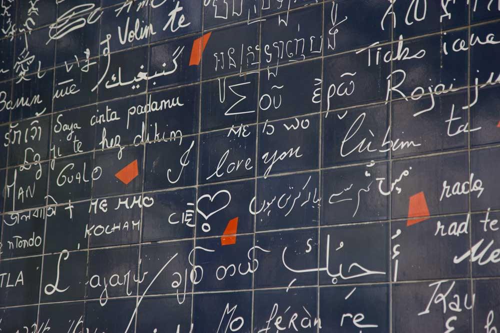 The love wall in Montmarte, Paris