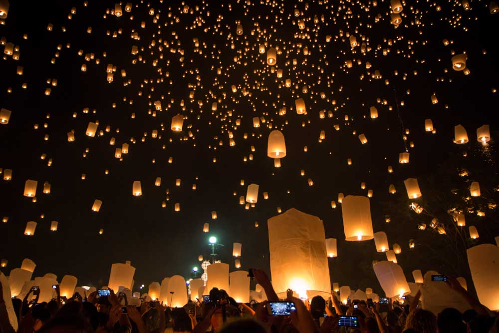 Yi Peng lantern festival in Chaing Mai, Thailand