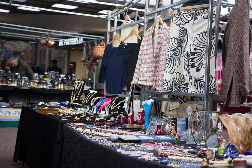 Vintage clothing and  j ewellery on sale at notting hill market