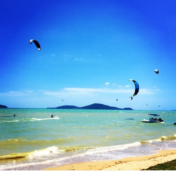 Kitesurfing on Chalong Beach, Phuket, Thailand