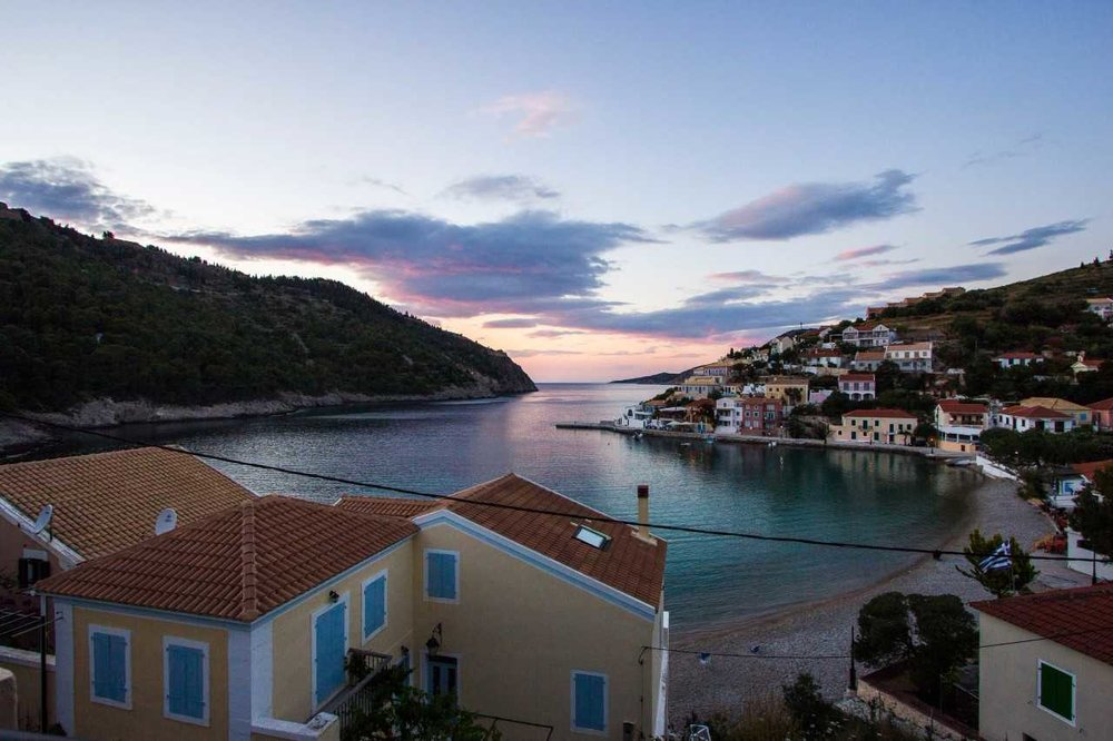 Our balcony view from Linardos Apartments, Assos Bay