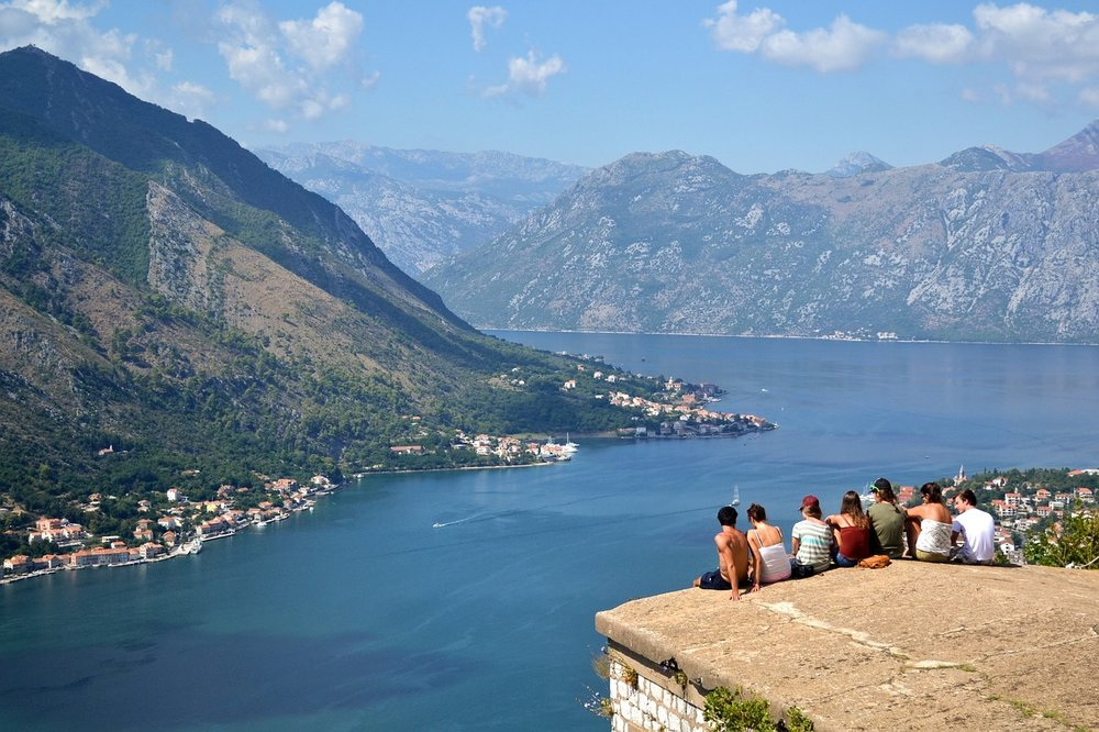 People sitting and enjoying the view over Montenegro bay