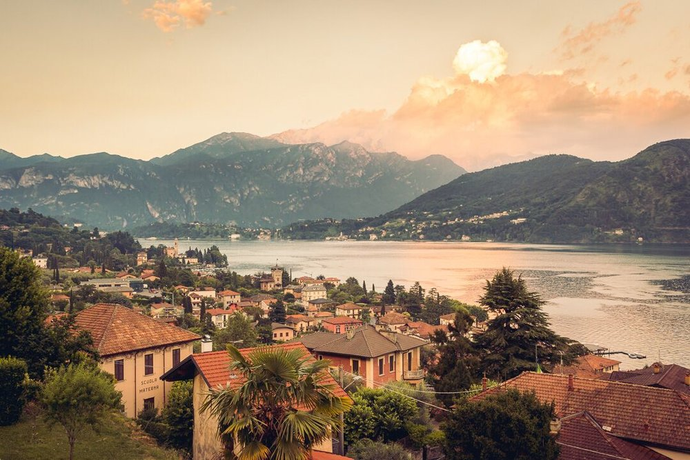 views from Mezzegra Village, across lake Como, Italy