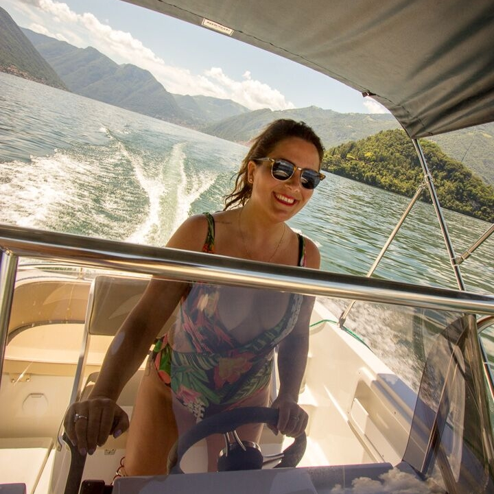 me on the power boat on lake como, Italy