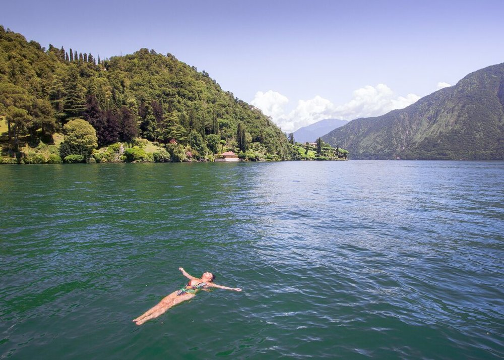 Floating the fresh waters of Lake Como, Italy