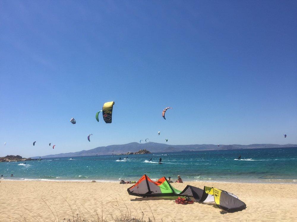 Kitesurfing on Naxos Island, Greece