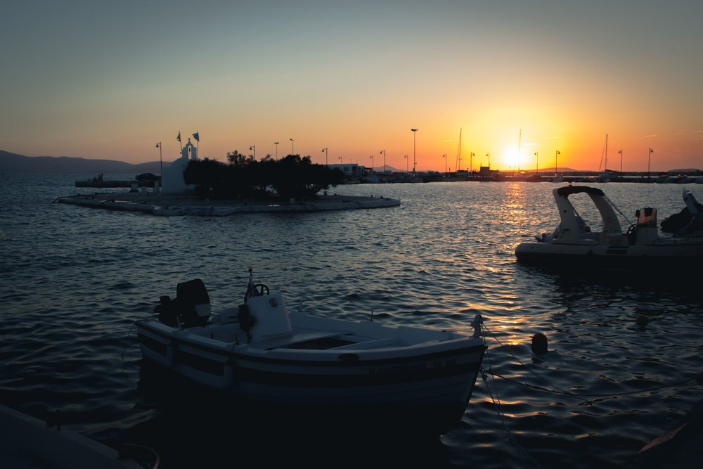 sunsets on Naxos Island