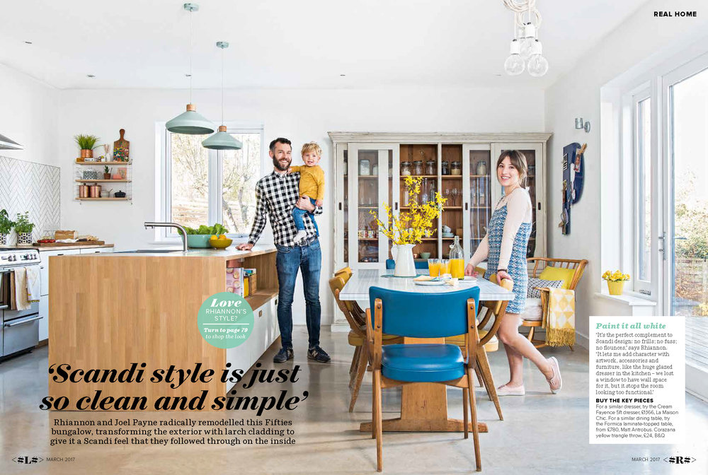 This is Joel, Huck and me in the kitchen of the home we built ourselves. We have polished concrete floors, the kitchen cabinets are from Ikea but with custom-made doors by  Matt Antrobus  and Oak wrap-around worktops. It was tiled and fitted by the very clever  Tim May
