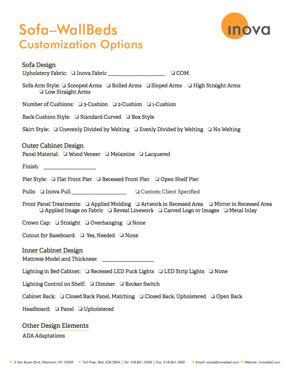 Sofa-WallBeds: Customization Options