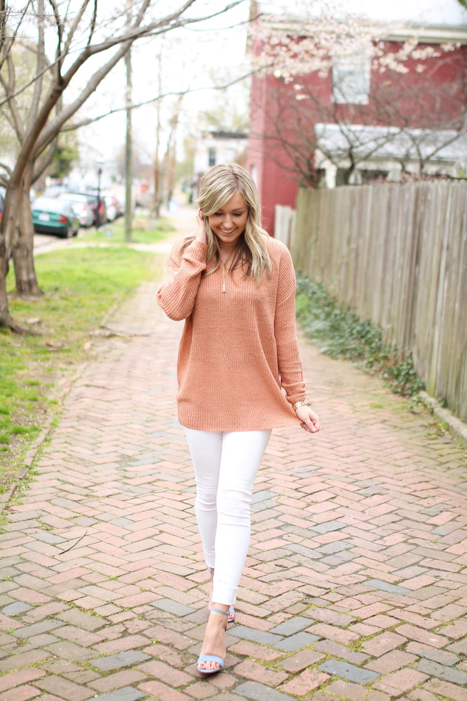 Peach Sweater c/o Sweetest Stitch  ||  White Denim  ||  Blue Heels  ||  Necklace  ||  Watch