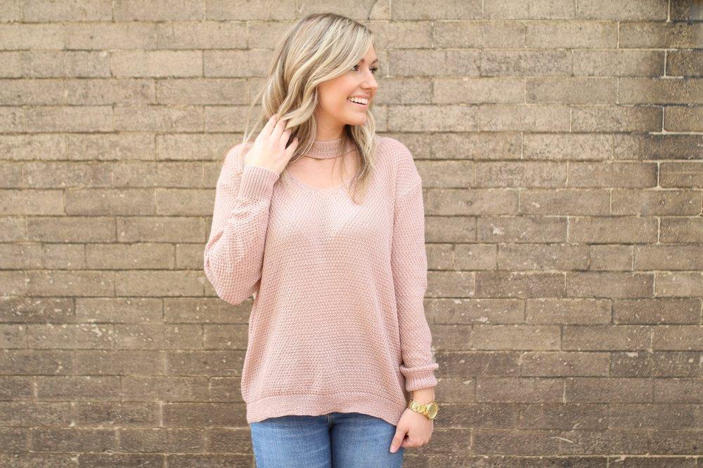 Blush Sweater c/o Sweetest Stitch  ||  Jeans  ||  Peep Toe Booties  ||  Watch