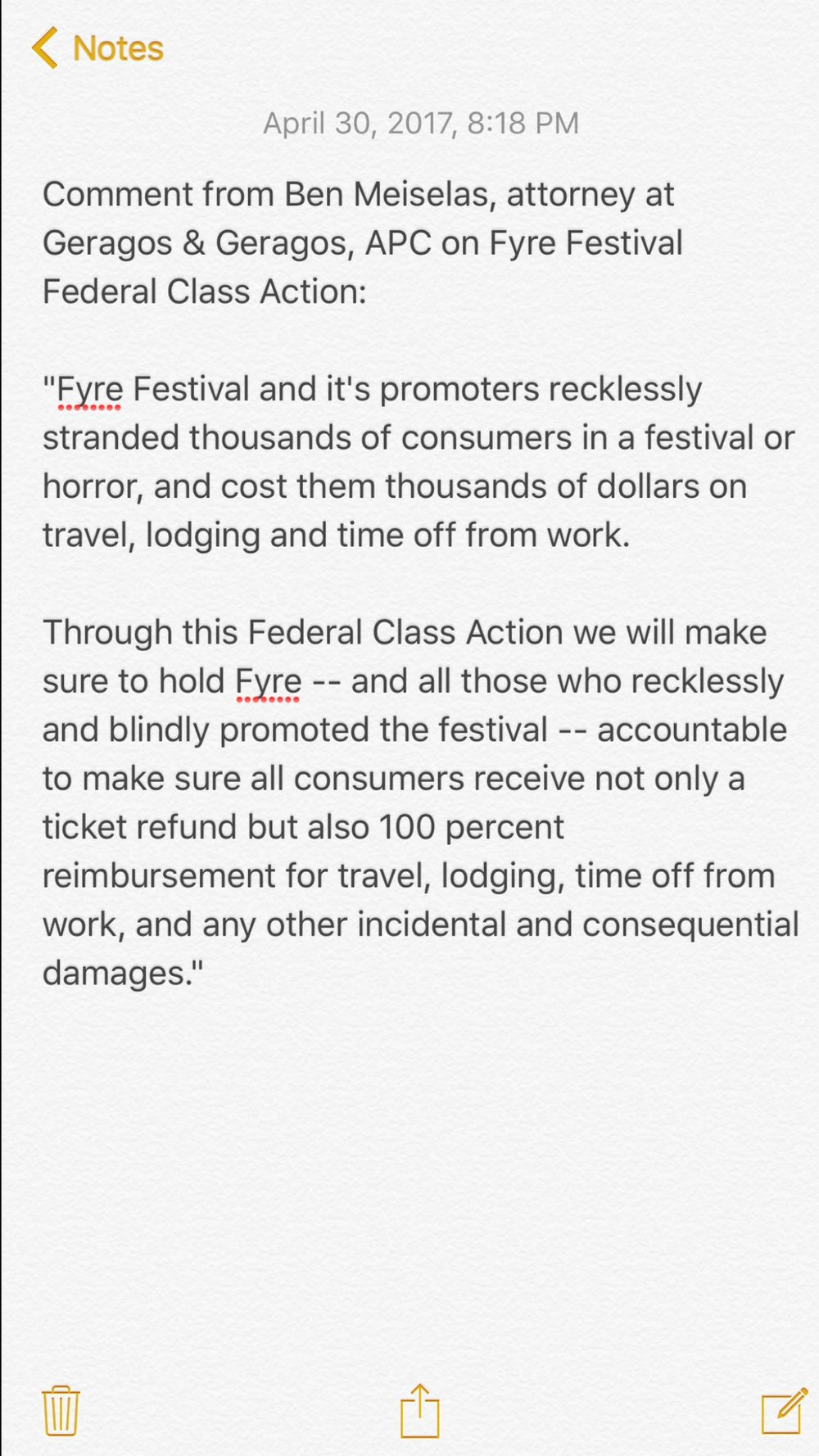 Gerago's office posted this statement on twitter regarding the Fire festival class action.
