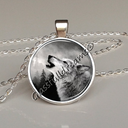 Moon howling wolf pendant glassfulldreams shop handmade moon howling wolf pendant aloadofball Choice Image