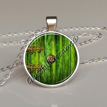 Green fairy door pendant glassfulldreams shop handmade green fairy door pendant aloadofball Image collections