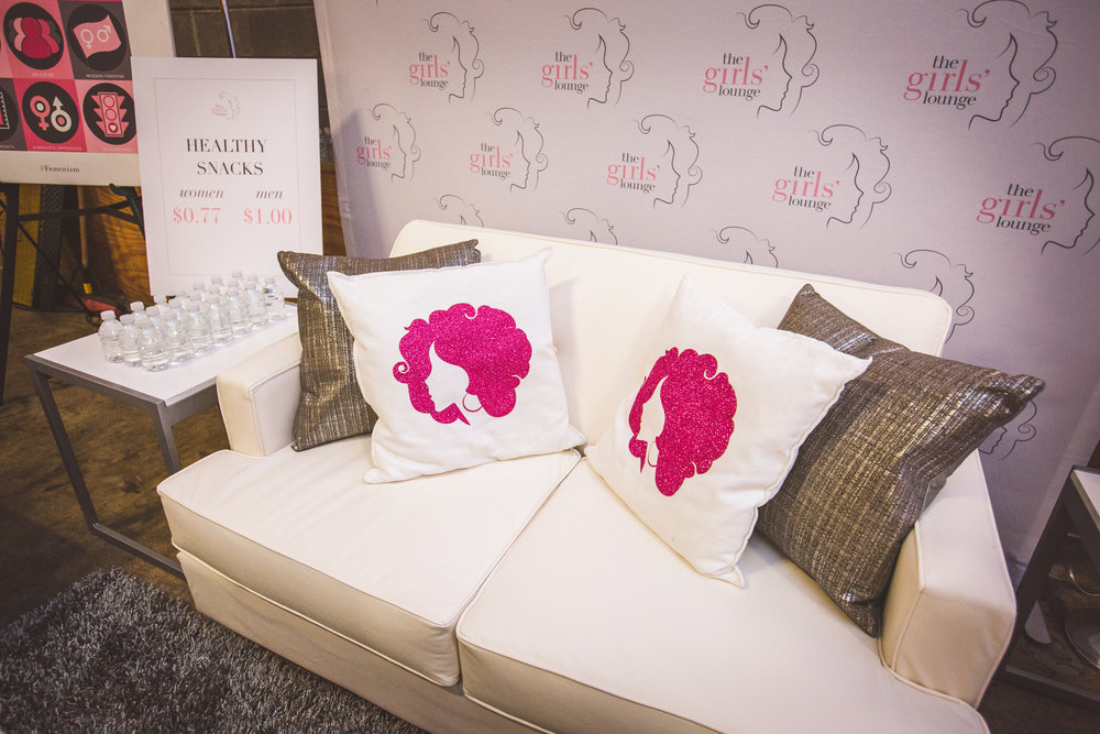 girls' lounges - Created for each lounge:Signage throughout the spaceHandmade pillow & DECORATIVE elementsWindow ClingsBus & car wrapsBillboardsVideo reels for monitorsdocumented for Website contentCustom on-site Shirt designingSOCIAL MEDIA (LIVE VIDEO STREAMING & POSTING)