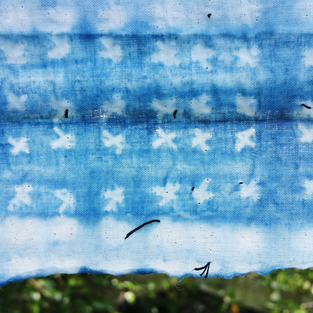 detail of student work from  intro to indigo and shibori dyeing
