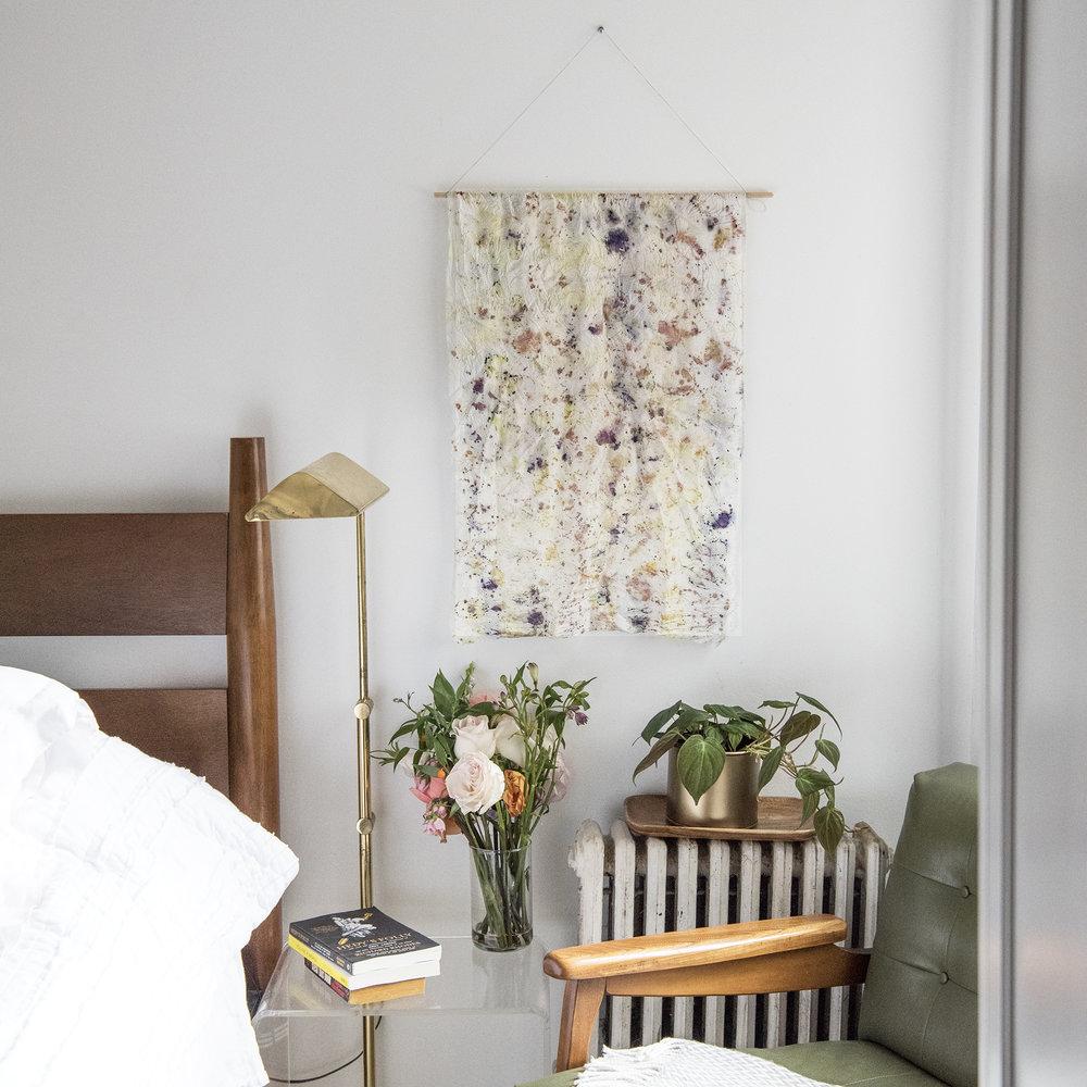 Custom Wedding Flower Dyed Silk Table Runner / Wall Hanging