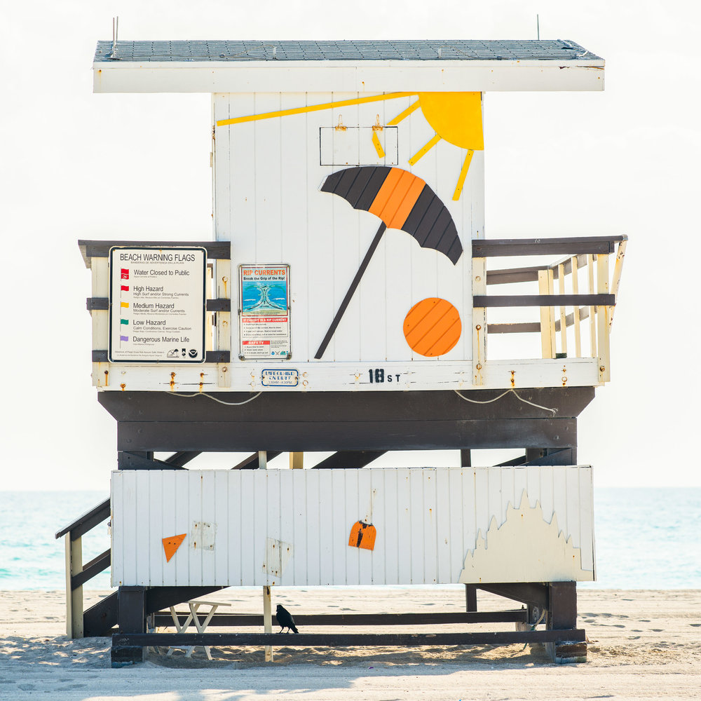 18th St. Miami Lifeguard Stand - Rear View