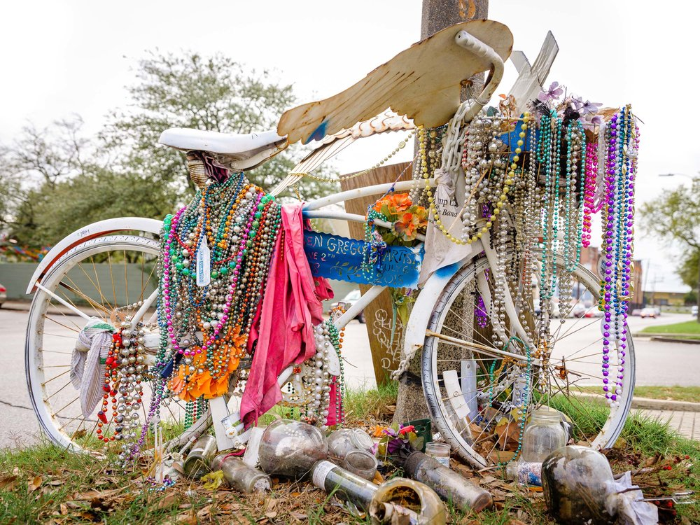 Bike Memorial on Elysian Fields Ave
