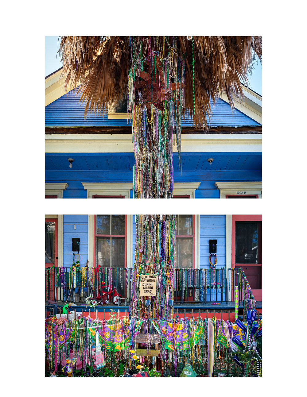 Diptych of Magazine Street Front Yard