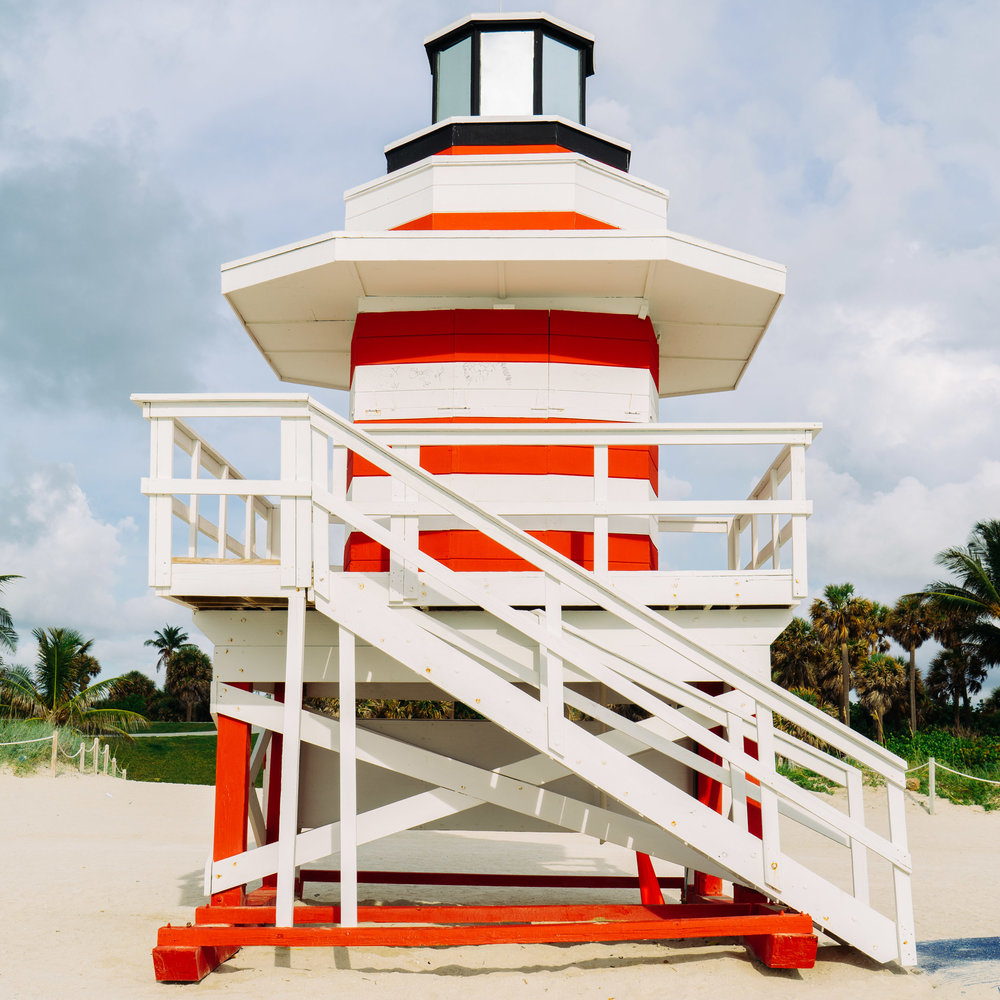 The lighthouse-inspired Jetty lifeguard stand at South Pointe Park at the southern tip of Miami Beach