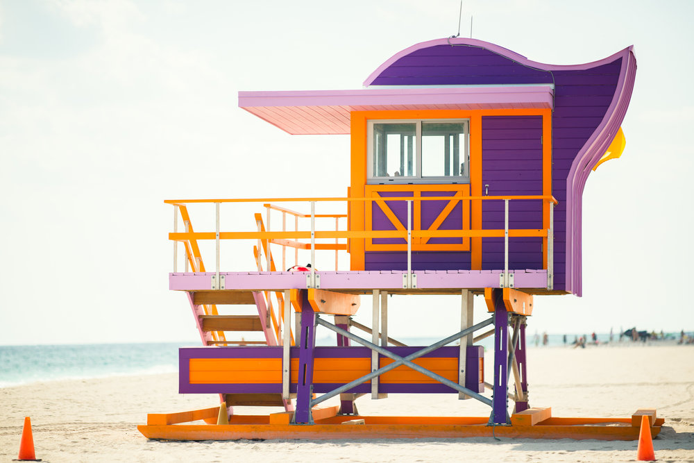The 12th Street lifeguard stand is an example of a more recent, updated design, yet still retains the funky colors and whimsical design of the older stands.